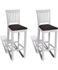 Bílé dřevěné barové židle (2ks)