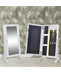 Stojící zrcadlo se šperkovnicí a LED podsvícením Maia