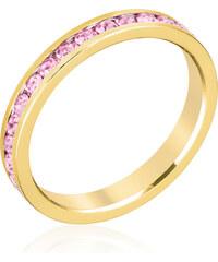 LYRA Prsten s růžovými Swarovski krystaly R01147G-C12