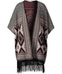 C&A Cardigan im Poncho-Stil mit Fransen in Schwarz / Grau