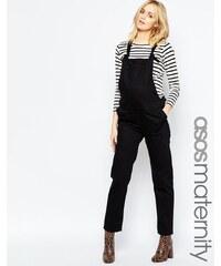 ASOS Maternity ASOS - Klassische Jeanslatzhose mit Trägern zum Binden - Schwarz