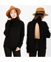Lesara Rollkragen-Pullover mit Rückenschlitz - S