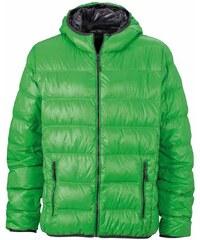 Pánská prošívaná zimní bunda - Zelená a šedá S