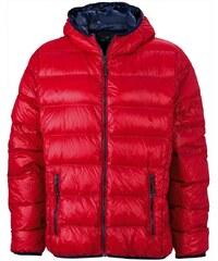 Pánská prošívaná zimní bunda - Červená a tmavě modrá S