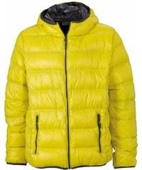 Pánská prošívaná zimní bunda - Žlutá a šedá S