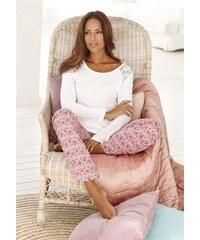 RED LABEL Bodywear Pyjama edel gemustert mit Spitzeneinsatz S.OLIVER RED LABEL natur 32/34,36/38,40/42,44/46