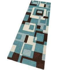 HOME AFFAIRE COLLECTION Schurwoll-Teppichläufer Zahra Höhe 11 mm handgearbeiteter Konturenschnitt blau 12 (B/L: 80x250 cm)
