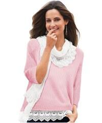 TOGETHER Damen Pullover in trendiger Form mit Spitzenapplikationen rosa 38,40,42,44,46,50,52