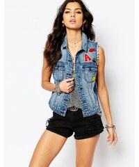 Noisy May - Veste en jean sans manches à empiècements - Bleu
