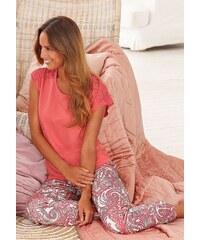 s.Oliver RED LABEL Bodywear Edler Pyjama mit Paisleymuster und Spitze