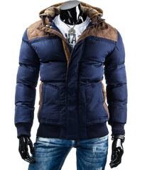 streetIN Zimní bunda s hnědými nášivkami a úpletovou kapucí s kožíškem - modrá Velikost: M