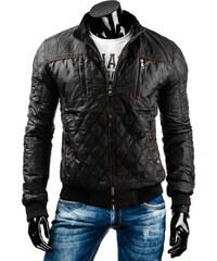 streetIN Přechodná bunda s hnědými pruhy - černá Velikost: XL