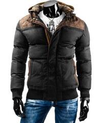 streetIN Zimní bunda s hnědými nášivkami a úpletovou kapucí s kožíškem - černá Velikost: M