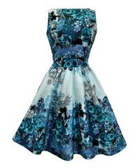 LADY VINTAGE Dámské šaty Modrá růže