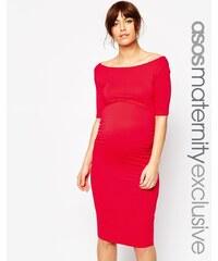 ASOS Maternity - Robe à encolure Bardot et manches mi-longues - Rouge