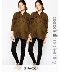 ASOS Maternity TALL - Lot de 2 leggings longs - Noir