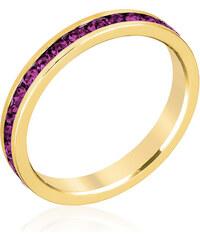 LYRA Prsten s fialovými Swarovski krystaly R01147G-V20