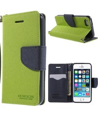 Pouzdro / kryt pro Apple iPhone 5 / 5S / SE - Mercury, Cross Texture Green/Blue