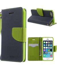Pouzdro / kryt pro Apple iPhone 5 / 5S / SE - Mercury, Cross Texture DarkBlue