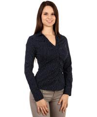 TopMode Jemně puntíkovaná košile s dlouhým rukávem černá