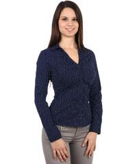 TopMode Jemně puntíkovaná košile s dlouhým rukávem modrá