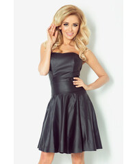 S-a-F Dámské luxusní společenské a plesové korzetové šaty z eko-kůže TITAN 832 se skládanou sukní krátké černé