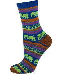 SOXO Dámské modro-zelené pletené ponožky Colorful Socks