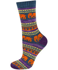 SOXO Dámské modro-oranžové pletené ponožky Colorful Socks