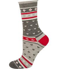 SOXO Dámské šedo-červené ponožky Nasta