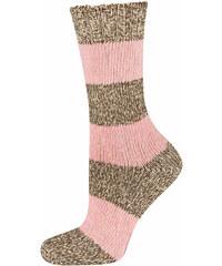 SOXO Dámské růžové pletené ponožky Melange