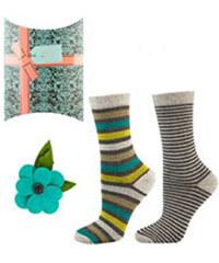 SOXO Dámske zelené ponožky + brož v dárkovém balení