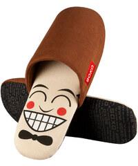 SOXO Pánské hnědé pantofle Mr Face
