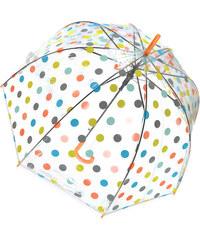 Tom&Eva Oranžový transparentní deštník Dots
