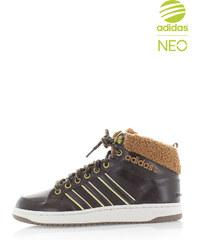 adidas NEO Pánske tmavě hnědé kotníkové tenisky ADIDAS Hoops LX Mid