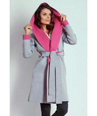 Naoko Šedo-růžový kabát AT16