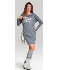 Happymum Tmavě šedé těhotenské šaty Be Happy