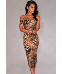 Midi šaty s leopardím vzorem