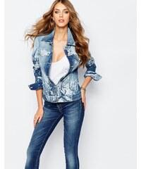 Versace Jeans - Veste en jean à motif roses - Bleu