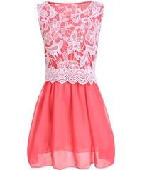 002 Dámské šaty s krajkou - jahodové barvy
