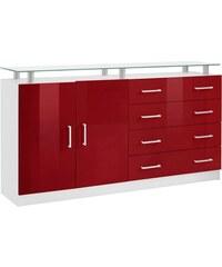 Baur Sideboard Finn Breite 152 cm mit Glasablage rot
