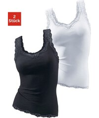 Vivance Active Damen Feinripptops (2 Stück) mit Spitze Cotton made in Africa schwarz 40/42,44/46,48/50