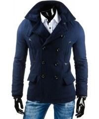 Pánský dvouřadý kabát Rikko modrý - modrá