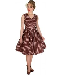 WENDY čokoládově hnědé puntíkované šaty na ples i na piknik - 50.léta