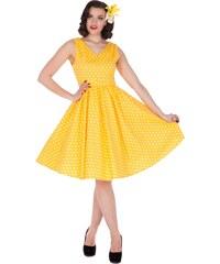 WENDY žluté puntíkované šaty na ples i na piknik - 50.léta