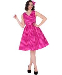 WENDY růžové puntíkované šaty na ples i na piknik - 50.léta