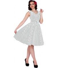 WENDY bílé puntíkované šaty na ples i na piknik - 50.léta