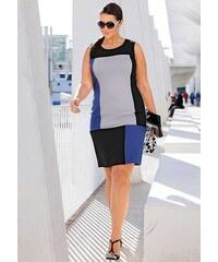 Pouzdrové šaty také pro plnoštíhlé, šaty větší velikosti SHEEGO 44 černo-modrá