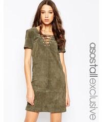 ASOS TALL - Kleid aus Wildleder mit Schnürung - Grün