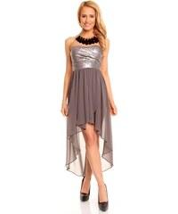 Dámské společenské a plesové šaty korzetové flitrové značkové MAYAADI 297 s asymetrickou sukní šedé