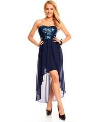 Dámské společenské a plesové šaty korzetové flitrové značkové MAYAADI 297 s asymetrickou sukní tm. modré